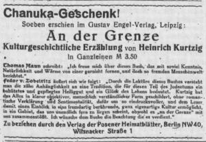 Posener Heimatblätter. 6. Jg., Nr. 3, Dezember 1931. S. 14.